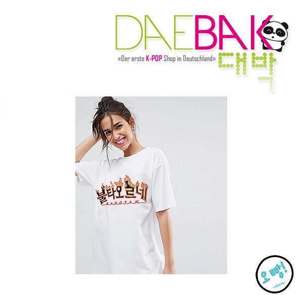 """BTS (Bangtan) - Fire """"Bultaoreune"""" T-Shirt [One Size] [Weiß mit gelb-orange Logo]"""